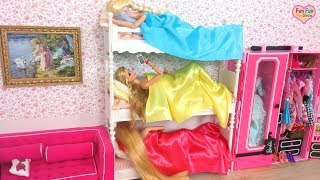 Rapunzel Barbie Elsa doll Bunk bed Bedroom Morning Shower boneka Barbie Pagi Rotina de manhã