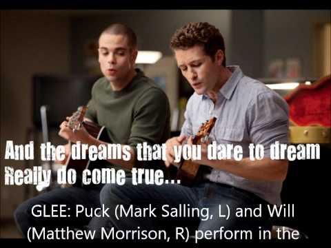 Glee-Over the Rainbow-Mr. Schu and Puck Lyrics on screen