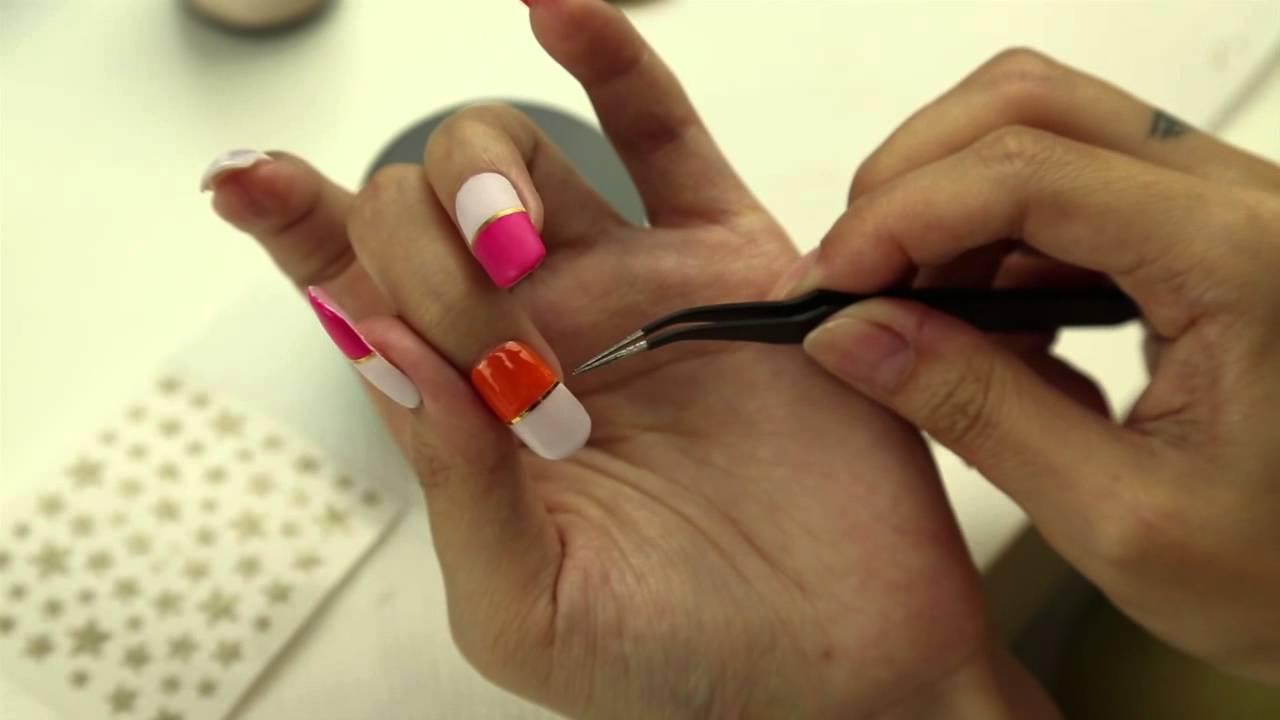 ネイルシールの貼り方とストライピングテープの使い方 nail art tutorial 【ネイルアート・パーツアート編】 , YouTube