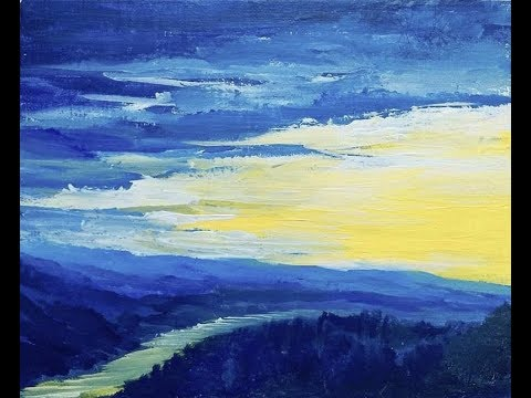 Blue Mountains | Acrylic Painting Lesson | Complete Artwork | Step by Step Instruction