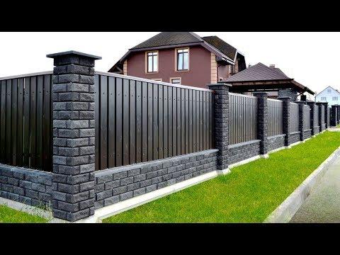 Красивый забор из профнастила своими руками фото