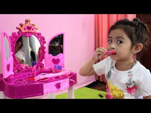 Unboxing Glamor Mirror Princess Dressing Table Set || Mainan Meja Rias Anak Perempuan ||