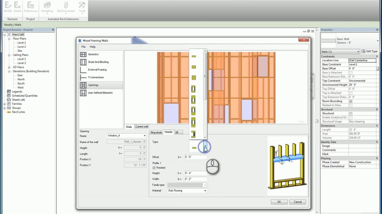 Revit Extensions Modeling Wood Framing Walls - A How To Guide