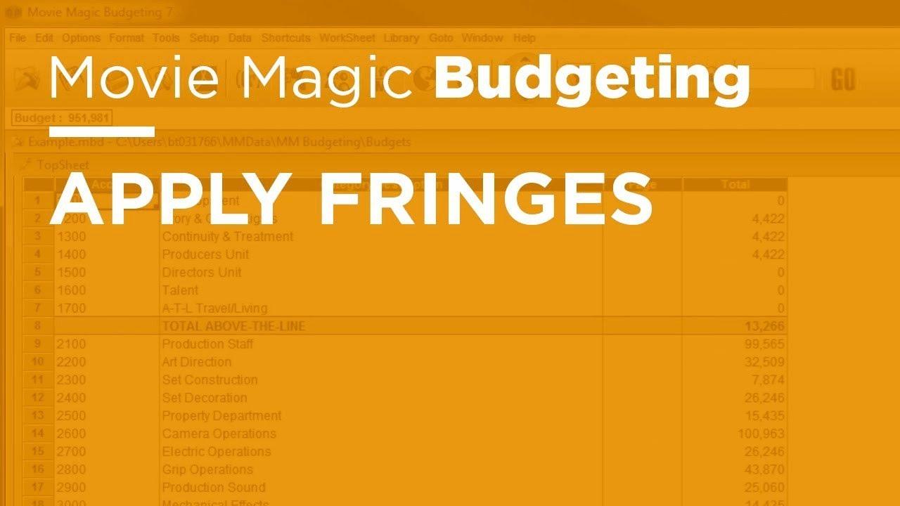 Movie Magic Budgeting Apply Fringes Youtube