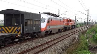 7202次貨物列車與173次自強號通過石龜車站