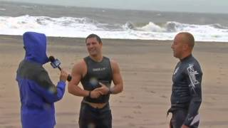 Crazy Lifeguards Swimming in Hurricane Sandy Storm Waters in Rehoboth Beach Delaware
