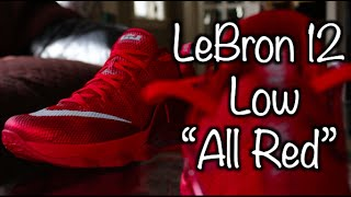 nike lebron xii 12 low all red review on feet