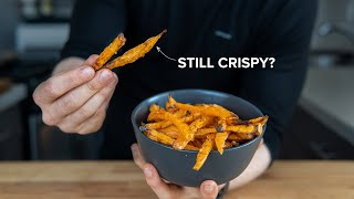 Why it's (almost) impoṡsible to make Crispy Sweet Potato Fries in the oven.