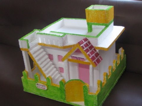 Another thermocol house for school project youtube for Projects of houses