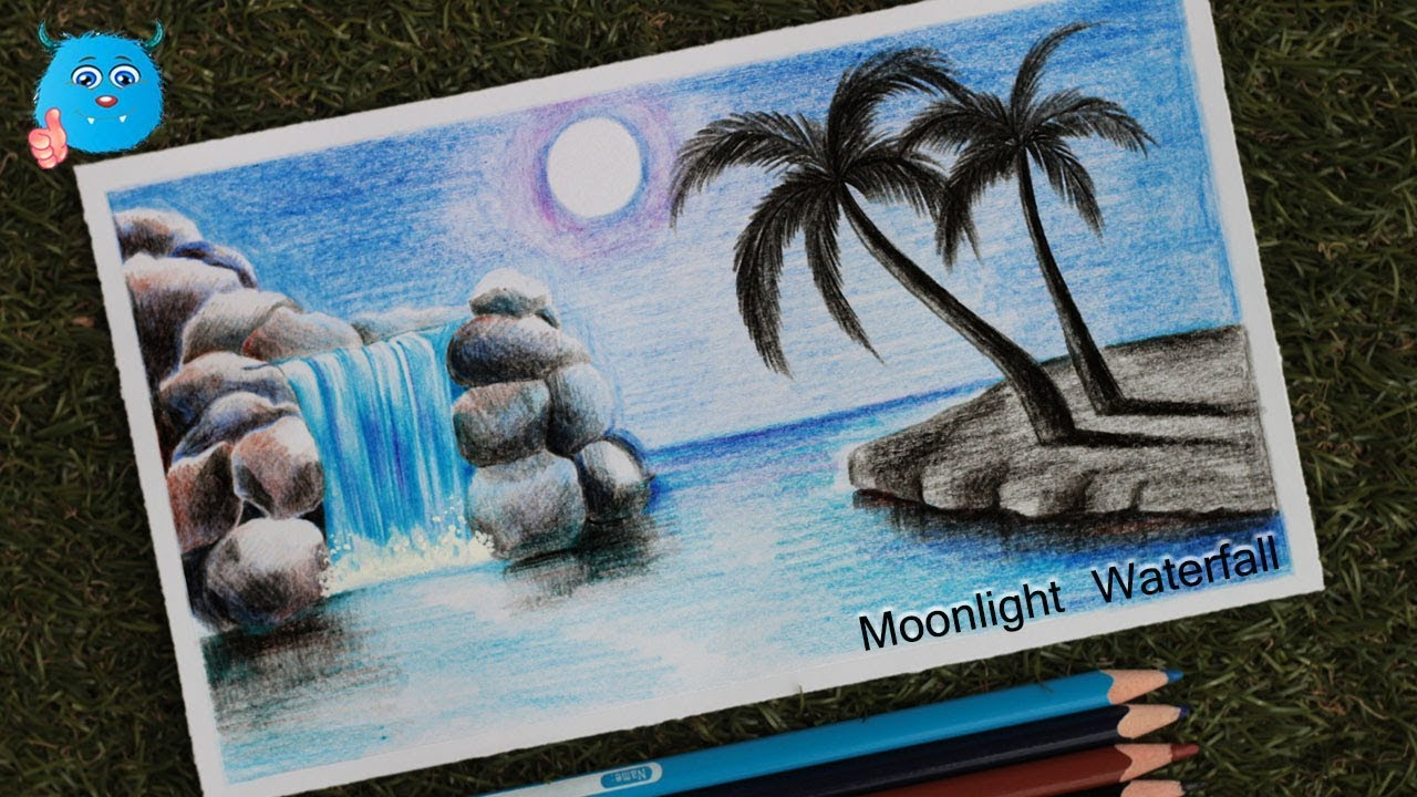 How to draw moonlight waterfall scenery with colored pencils step by step
