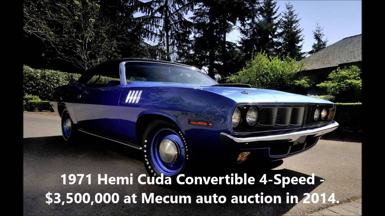 Top Ten Most Expensive Muscle Cars - YouTube