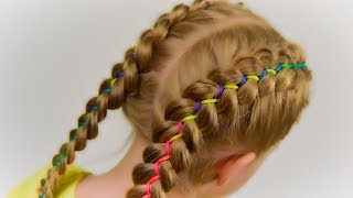 How To: 5 Strand Ribbon Dutch/French Braid. Hairstyle with Ribbon #2