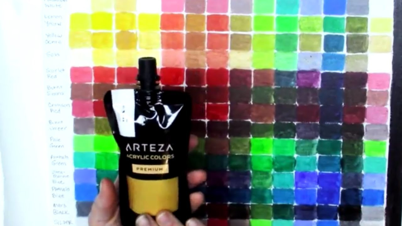 Arteza Haul DIY Acrylic Color Mixing Chart and Canvas Panel Review