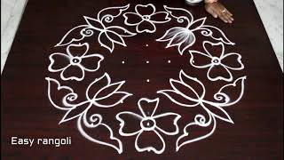 flower kolam designs with 9 dots *easy rangoli designs *simple muggulu with dots * atest rangavalli