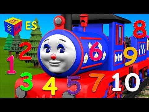 Aprende a contar del 1 al 10 con el tren Chucu-chuu Los números en español para niños Dibujo animado