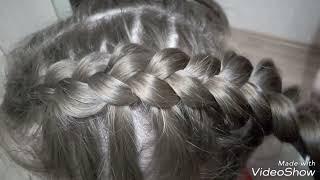 """Коса """"дракончик"""" наоборот с вытягиваем косы."""