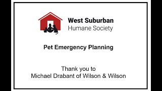 WSHS University - Emergency Planning for your Pet's Care