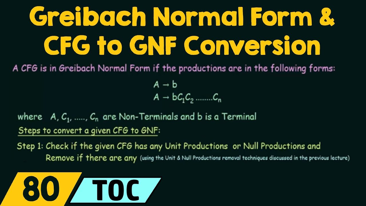 Greibach Normal Form & CFG to GNF Conversion - YouTube