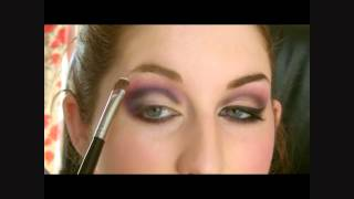 Dark Purple Crease Eyeshadow & Pink Glitter Lips make up tutorial Thumbnail
