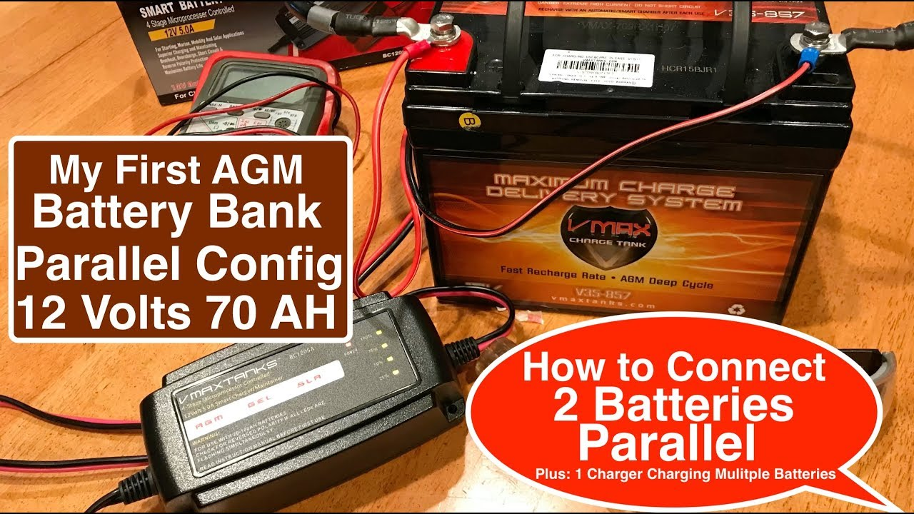 easy to follow agm battery bank parallel configuration 2 qty 12v 35 ah vmaxtanks agm batteries 12 volt batteries in parallel diagram batteries in series or parallel