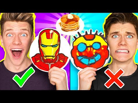 PANCAKE ART CHALLENGE Mystery Wheel & Learn How To Make Avengers Wreck It Ralph 2 Diy Fortnite