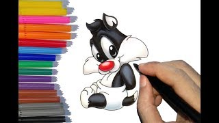 How to draw baby Sylvester the cat| Coloring Pages for Kids