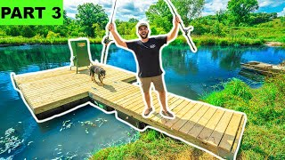Building a GIANT DIY FLOATING DOCK for My BACKYARD POND!!! (Part 3) - Will It Float?