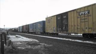 Union Pacific manifest train with DPUs passing Truckee, California - Reloaded