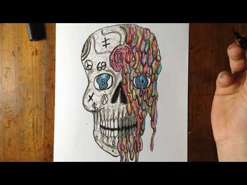 Coloring The Melted Sugar Skull Drawing