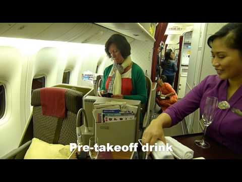 Garuda Indonesia Business Class B777-300ER - HD Video Flights from Denpasar via Jakarta to Amsterdam