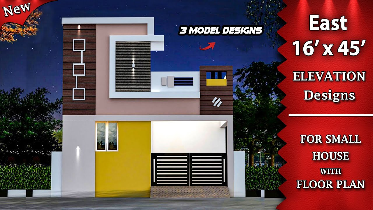 16 X 45 Small House Front Elevation Designs With Floor Plan Single Floor Elevation East Facing Youtube