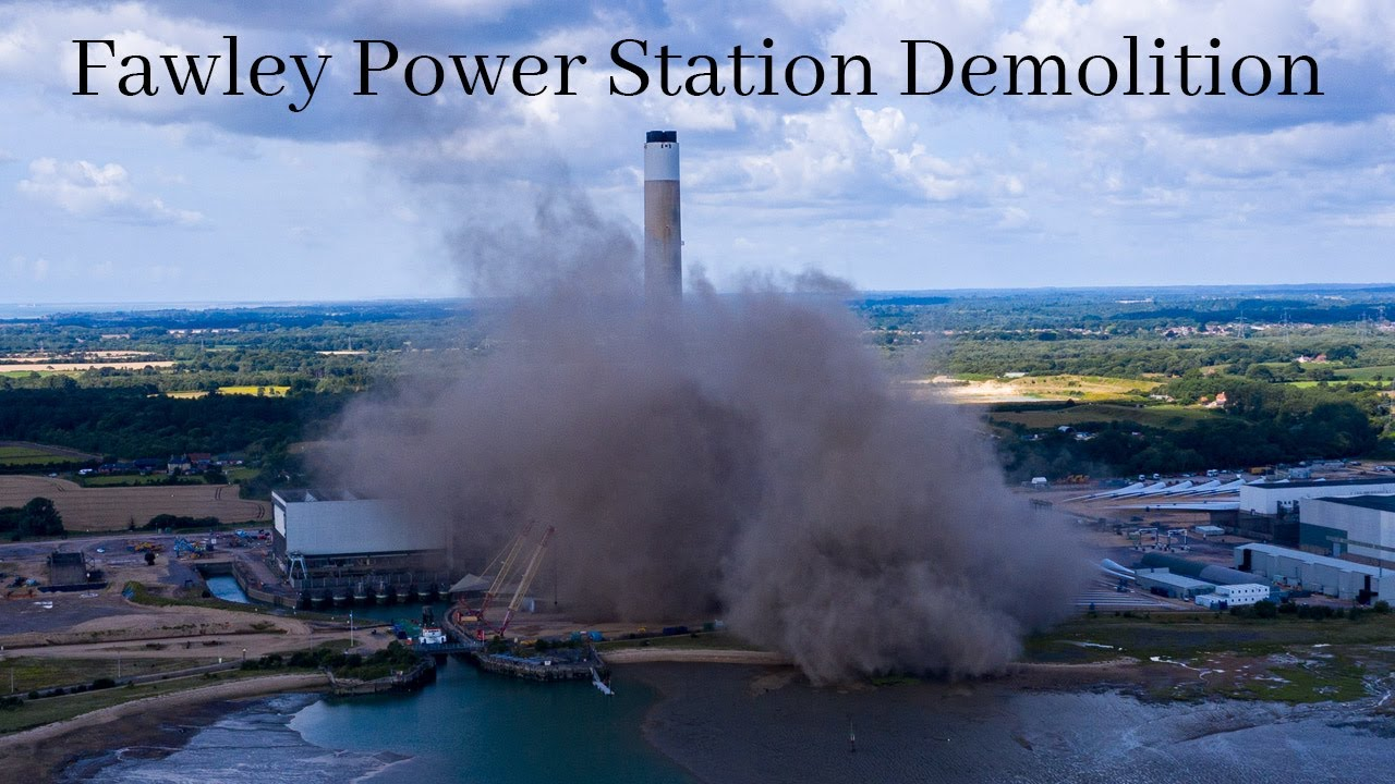 Fawley Power Station Demolition and Explosion Aerial View