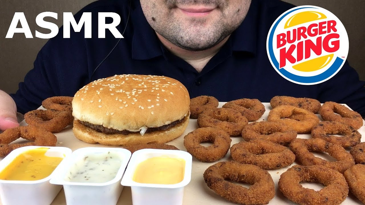 Asmr Burger King Onion Rings And Whopper Extra Crispy Eating Sounds Mukbang