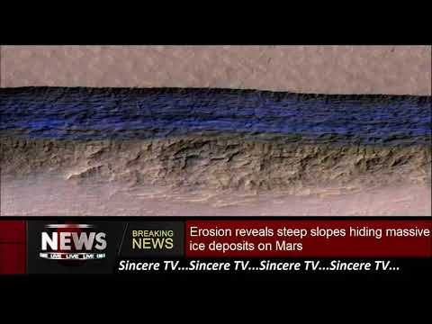 Erosion reveals steep slopes hiding massive ice deposits on Mars