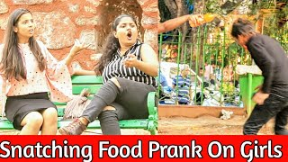 Food snatching prank On Cute Girls || Food Eating Prank || Prank in india || MindlessLaunde