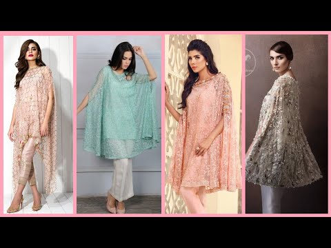 Designer Indian & Pakistani Mint Net Embroidered Cape Outfit available in Salwar Trousers,