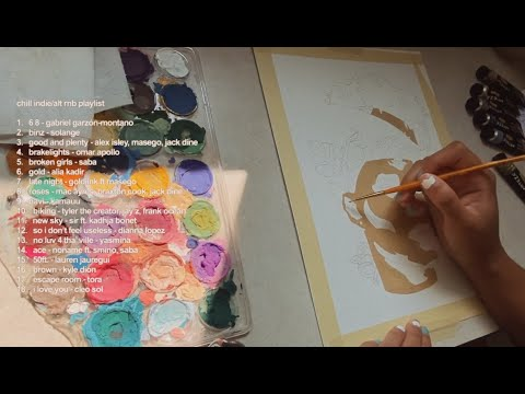 [1 hour] paint with me + a chill alt/indie rnb playlist   real time