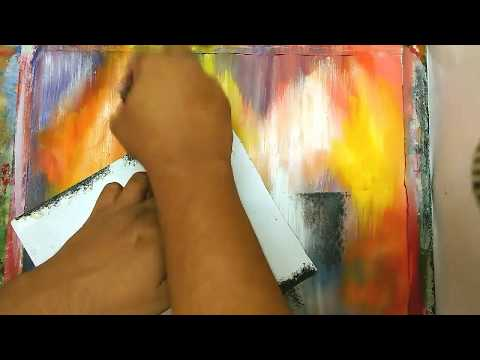 How To Make /Abstract/ Brush and Paper Technique /Acrylic Abstract Painting Tutorial/ #14