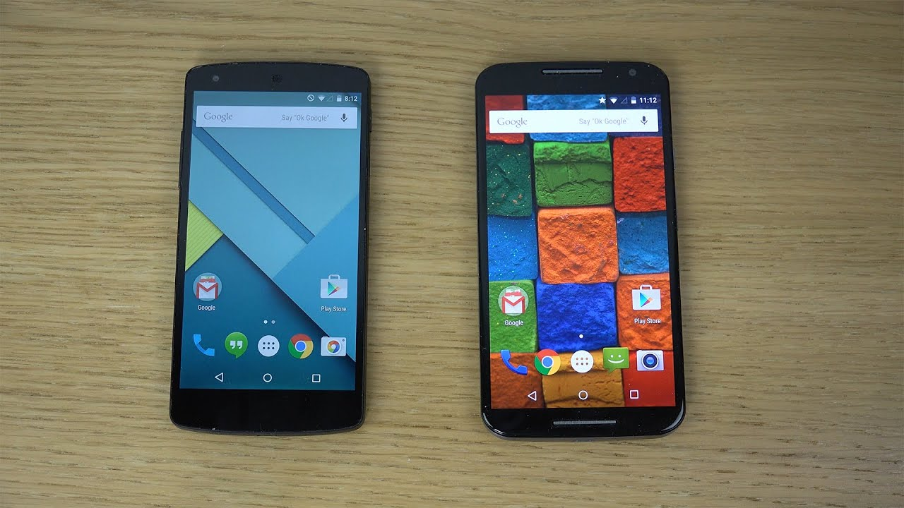 Nexus 5 Android 5.0 Lollipop vs. Motorola Moto X 2014 ...
