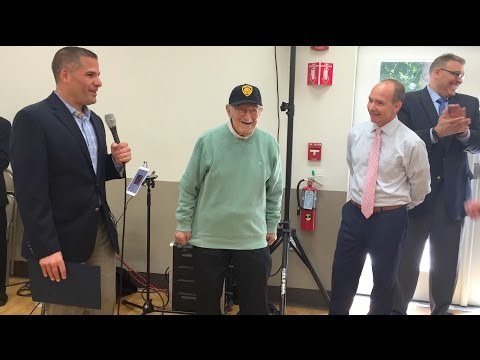 Dutchess County Executive Marc Molinaro and Office for the Aging Director Todd Tancredi stopped by the town of Poughkeepsie Senior Center to celebrate Poughkeepsie resident John Freni's 102nd birthday with his family and friends.