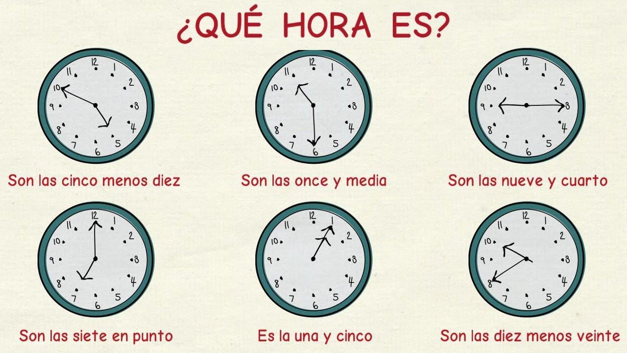Aprender español: Las horas (nivel básico) - YouTube