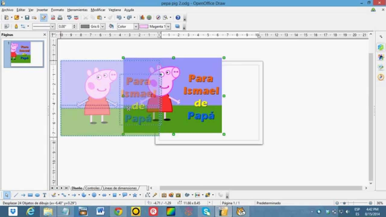 Tutorial para dibujar a Peppa Pig en computadora con Open Office