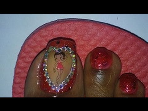 Totw Red Betty Boop Toe Art Design Using Nail Decals Youtube