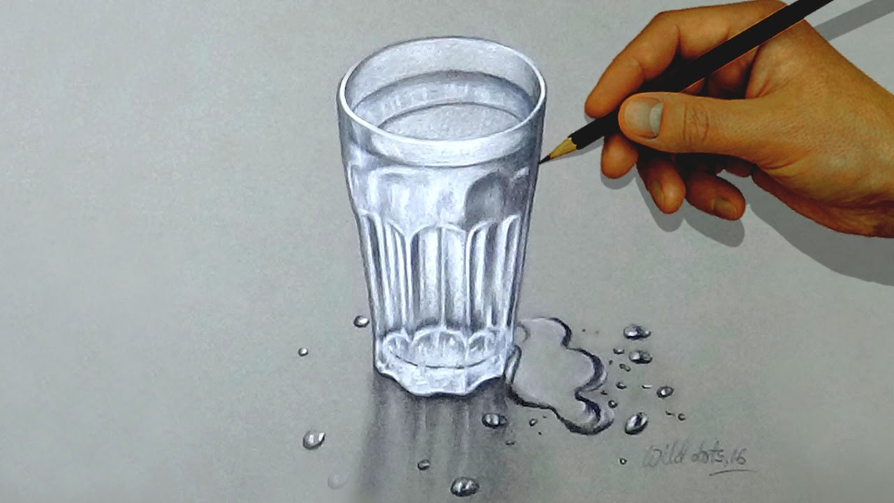 Glass of water how to draw a glass of water with colored pencils