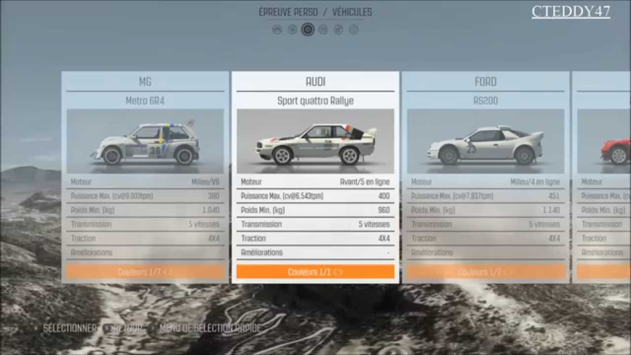 dirt rally pr sentation menu circuit et voiture youtube. Black Bedroom Furniture Sets. Home Design Ideas