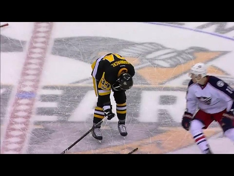 Thumbnail: Gotta See It: Calvert breaks his stick across the back of Kuhnhackl