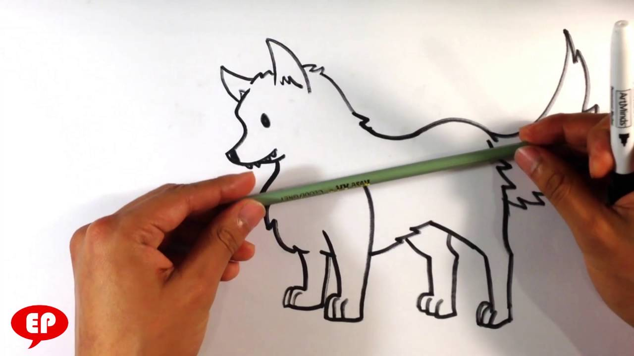 How To Draw A Wolf (cute)  Easy Pictures To Draw
