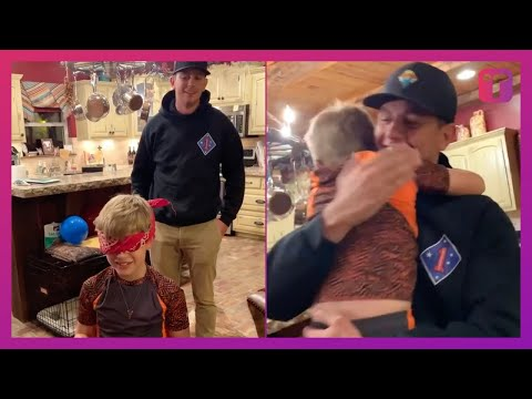Marine Surprises Kid Brother After Year Away