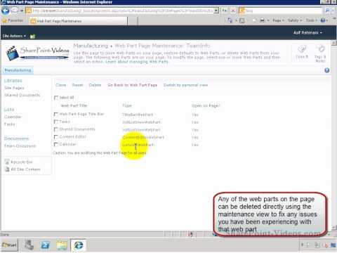 Open a web page in maintenance view