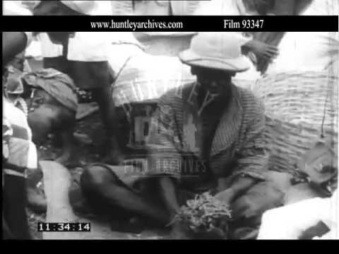 Koindou market in Sierra Leone, 1950's.  Archive film 93347